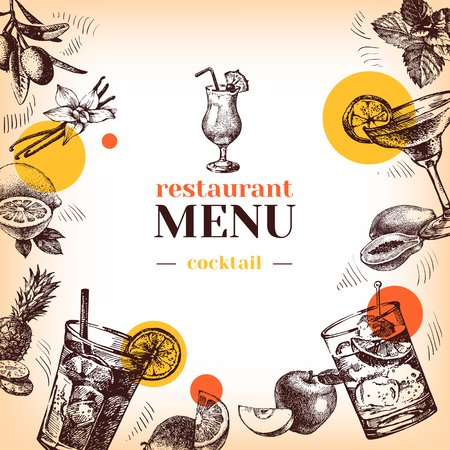 Vintage restaurant menu. Hand drawn sketch cocktails and fruits vector illustration