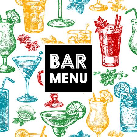 cocktails: Restaurant and bar menu. Hand drawn sketch cocktails vector illustration