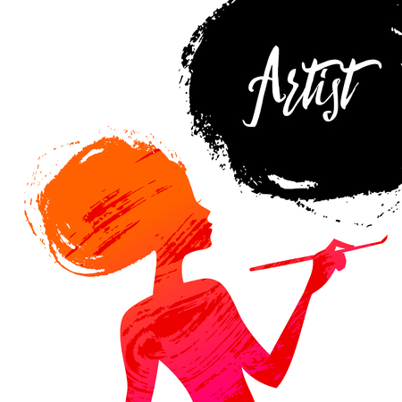artists: Beautiful artist girl silhouette. Splash paint design. Vector illustration Stock Photo