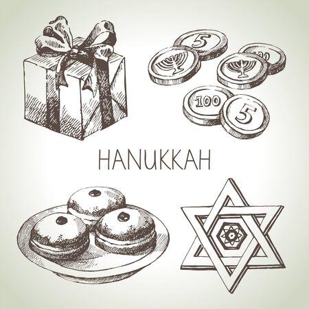 menora: Hand drawn sketch Hanukkah elements set. Israel festival objects and symbols. Vector illustration