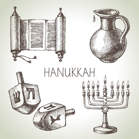 jewish star: Hand drawn sketch Hanukkah elements set. Israel festival objects and symbols. Vector illustration