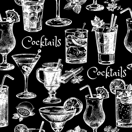 cocktails: Hand drawn sketch cocktails seamless pattern