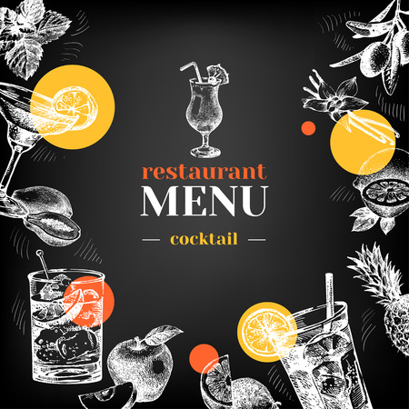 lime juice: Restaurant chalkboard menu. Hand drawn sketch cocktails and fruits vector illustration Stock Photo