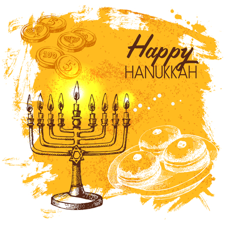 chanukah: Hand drawn sketch Hanukkah background. Israel festival card. Vector illustration Stock Photo
