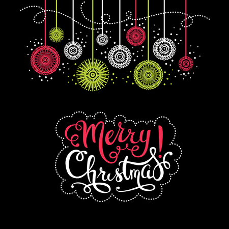 inscription: Merry Christmas vintage background. Happy New Year card. Vector illustration with lettering Stock Photo