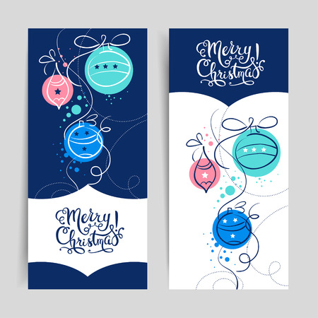 Merry Christmas vintage banners. Happy New Year cards. Vector illustration