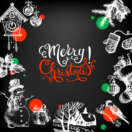 chalkboard: Merry Christmas hand drawn sketch chalkboard background. Happy New Year card. Vector illustration Stock Photo