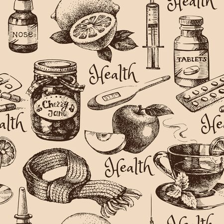 recipient: Sketch healthy and medical vintage seamless pattern. Hand drawn vector illustration