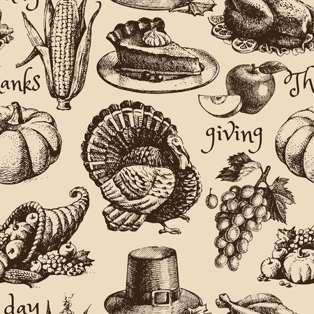 cuerno de la abundancia: Dé el bosquejo exhausto Día de Acción de Gracias sin patrón. Ilustración vectorial