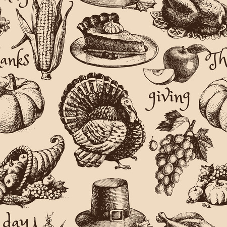 cornucopia: Hand drawn sketch Thanksgiving Day seamless pattern. Vector illustration