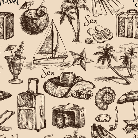 Travel and vacation vintage seamless pattern. Hand drawn illustration