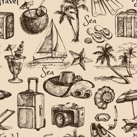 voyage vintage: Voyage et vacances vintage seamless pattern. Illustration main dessinée Banque d'images