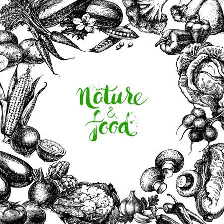 organic food: Vintage hand drawn sketch vegetables background. Eco food design. Vector illustration