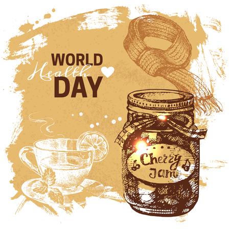 medicate: Hand drawn world health day background. Sketch vintage disease prevention vector illustration