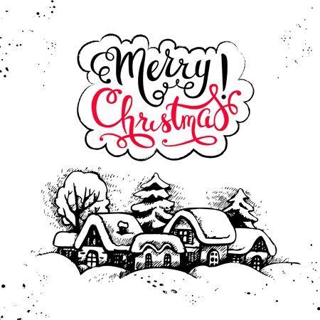 inscription: Merry Christmas hand drawn sketch vintage background. Happy New Year card. Vector illustration