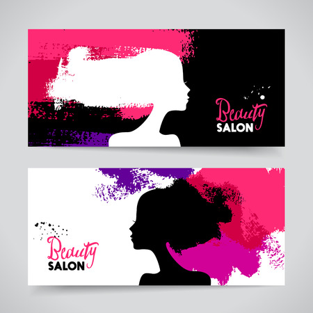 young woman face: Set of banners with acrylic beautiful girl silhouettes. Vector illustration of painting woman beauty salon design