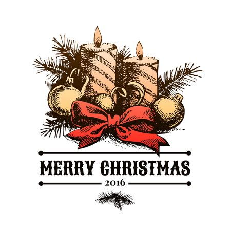 inscription: Merry Christmas hand drawn sketch background. Happy New Year card. Vector illustration Stock Photo