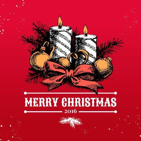 velas de navidad: Feliz Navidad de la mano dibuja el fondo boceto. Tarjeta de Año Nuevo feliz. ilustración vectorial