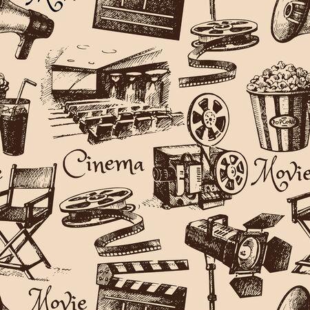 vintage pattern: Movie film cinema seamless pattern. Hand drawn vintage illustration Stock Photo