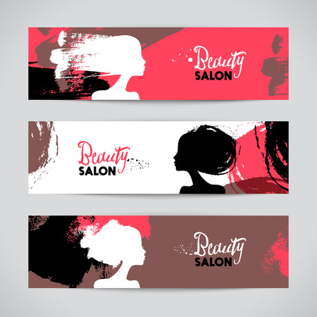 hair style collection: Set of banners with acrylic beautiful girl silhouettes. Vector illustration of painting woman beauty salon design
