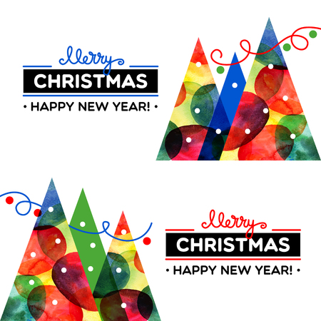 tarjetas a�o nuevo: Merry Christmas watercolor banner set. Happy New Year cards. Vector illustration