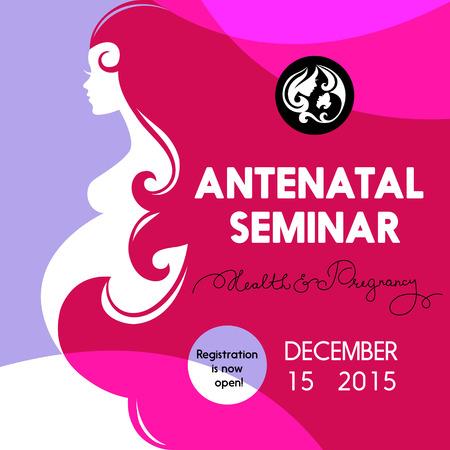 woman vector: Beautiful pregnant woman silhouette. Antenatal seminar training poster. School for parent design. Vector illustration