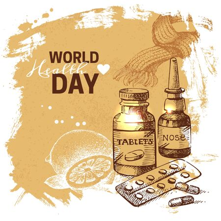 medicate: Hand drawn world health day background. Sketch vintage illness vector illustration