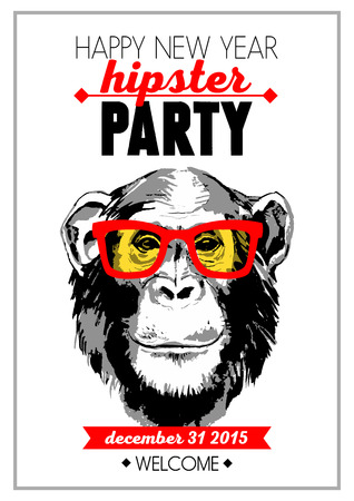 Holiday poster for Merry Christmas and Happy New Year Hipster party with hand drawn sketch monkey portrait. Vector illustration for card, print, fashion design and t-shirt graphics