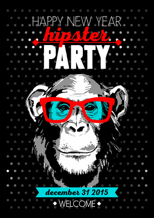 shades: Holiday poster for Merry Christmas and Happy New Year Hipster party with hand drawn sketch monkey portrait. Vector illustration for card, print, fashion design and t-shirt graphics