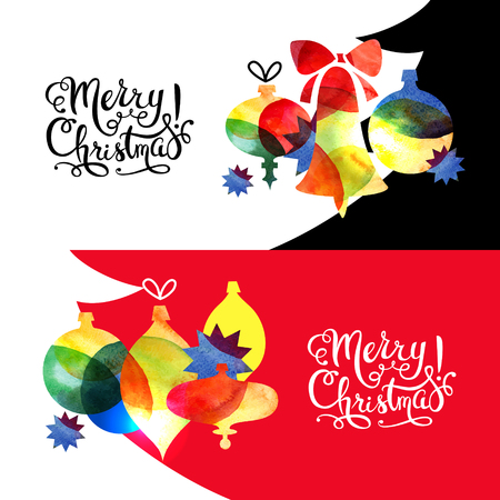 tarjetas a�o nuevo: Merry Christmas watercolor banners set. Happy New Year cards. Vector illustration