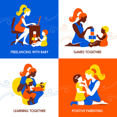seminar: Design concept of beautiful woman and child silhouettes. Mother and baby. Seminar training banners set. School for parents design. Vector illustration