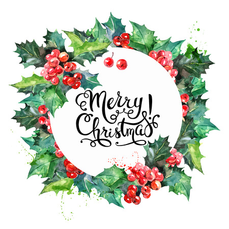 Watercolor colorful greeting decoration Christmas wreath with holly. Happy New Year card. Vector illustration