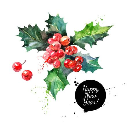 Watercolor Christmas holly branch with berry. Happy new year card Vetores