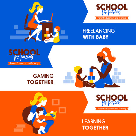 child school: Design concept of beautiful woman and child silhouettes. Mother and baby. Seminar training banners set. School for parents poster. Vector illustration. Material design