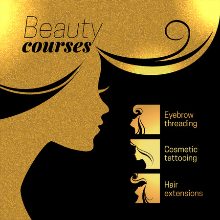 stylist: Gold beautiful girl silhouette. Vector illustration of woman beauty salon design. Infographics for cosmetic salon. Beauty courses and training poster Illustration