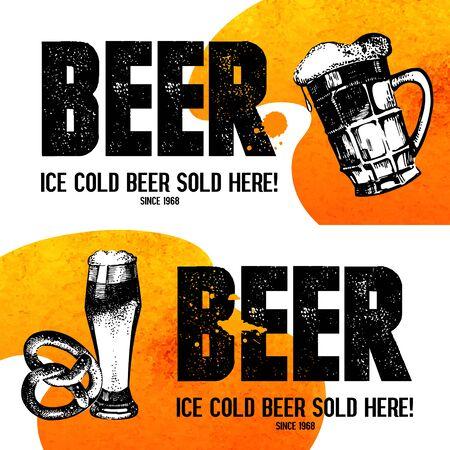 bier: Banners of Oktoberfest beer design. Hand drawn sketch illustrations. Splash blob backgrounds