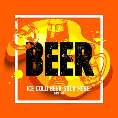 bier: Oktoberfest poster. Hand drawn sketch illustration. Splash blob retro design frame with beer