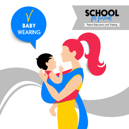 sling: Beautiful woman and child silhouette. Mother and baby wearing. Seminar and training concept. School for parents poster. Vector illustration. Material design Illustration
