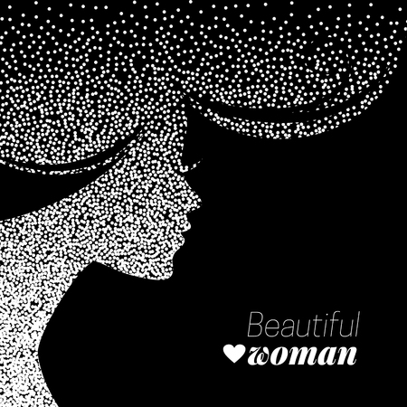 young woman face: Beautiful girl silhouette. Vector illustration of dotwork woman beauty salon design