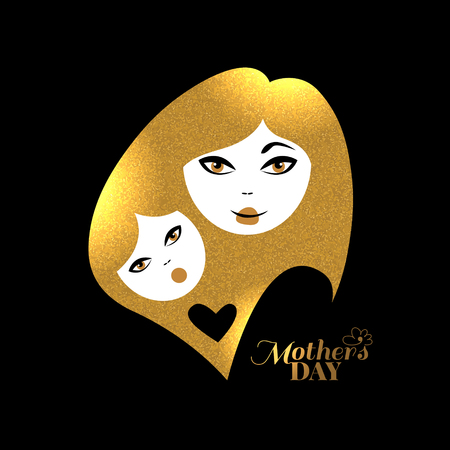 gold woman: Gold mother silhouette with her baby. Card of Happy Mothers Day. Vector illustration with beautiful woman and child Illustration