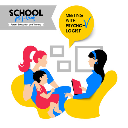 school girl: Beautiful woman and child silhouette. Mother and baby. Talking with psychologist. Seminar and training concept. School for parents poster. Vector illustration. Material design