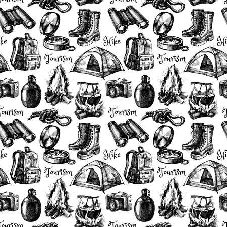 hike: Hike and camping tourism hand drawn vintage seamless pattern. Vector illustration Illustration