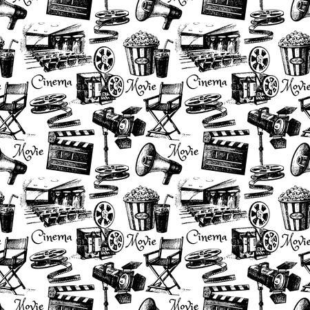 Sketch movie film cinema seamless pattern. Hand drawn vintage illustration