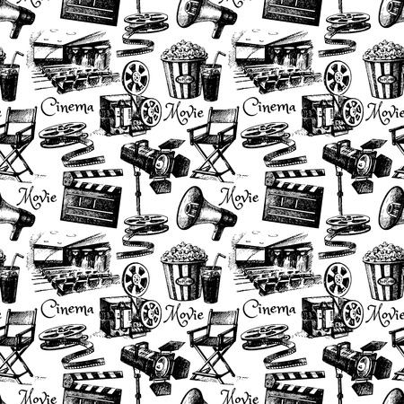 cinta pelicula: Boceto película de la película de cine patrón transparente. Dibujado a mano ilustración de la vendimia