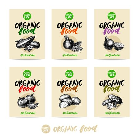 hand drawn: Hand drawn vegetables sale tag banners. 100% natural organic eco foods green product labels set. Sketch vintage vector illustrations.