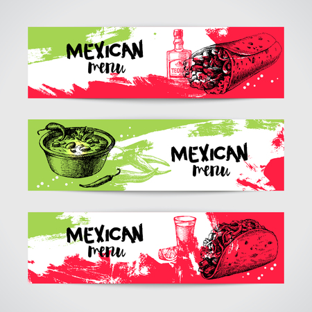 Mexican traditional food menu banners set. Hand drawn sketch vector illustration. Vintage Mexico cuisine