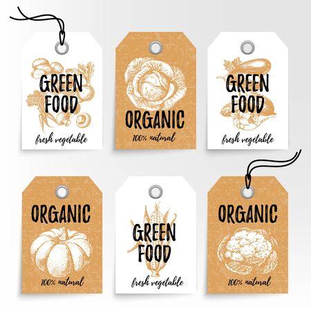 hand drawn: Hand drawn vegetables sale tags. 100% natural organic eco foods green product labels set. Sketch vintage vector illustrations. Gold design