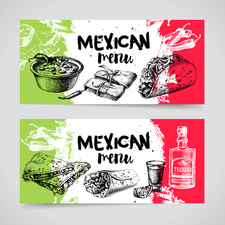 Mexican traditional food menu. Hand drawn sketch vector illustration. Vintage Mexico cuisine banner set