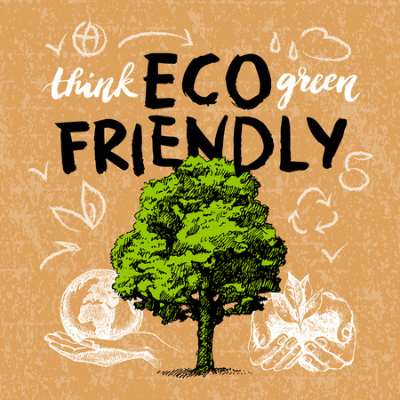 ecology background: Sketch ecology background. Hand drawn vector illustration. Hand lettering poster