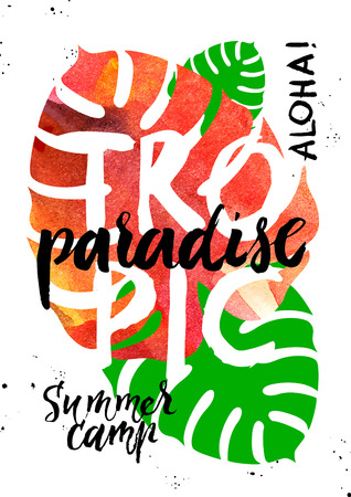 Hand drawn sketch tropical plants background. Watercolor vector illustration with hand lettering. Paradisa summer camp poster Ilustrace